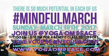 Mindful March Benefit for Love Your Brain at Yoga Om Peace with Janna Goodman RYT/RPYT ~ Woodcliff Lake, NJ